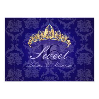 Blue Damask Sweet 16/ tiara/indigo invitations
