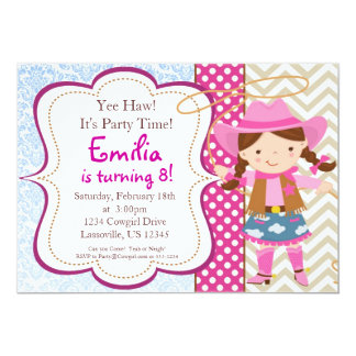 Blue Damask, Tan Chevron Cowgirl Birthday Party Card