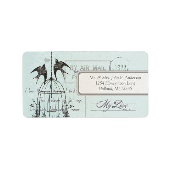 Blue Damask Vintage Bird Cage Air Mail Love Poem Label