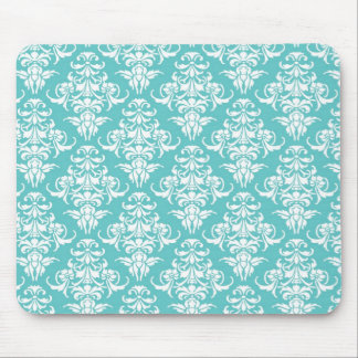 Blue damask vintage wallpaper pattern mouse pad