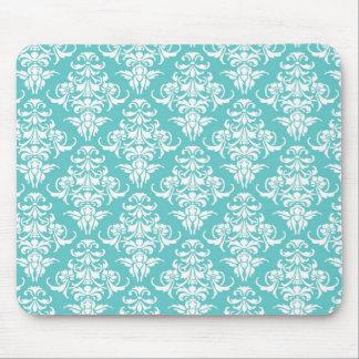 Blue damask vintage wallpaper pattern mouse pad