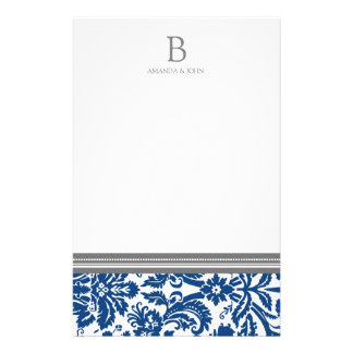 Blue Damask Wedding Monogram Stationery