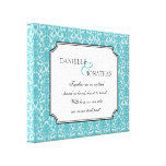 Blue damask wedding quote personalised canvas art