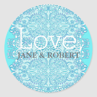 Blue Damask Wedding Round Sticker