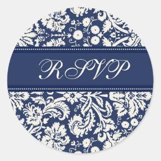 Blue Damask Wedding RSVP Envelope Seals