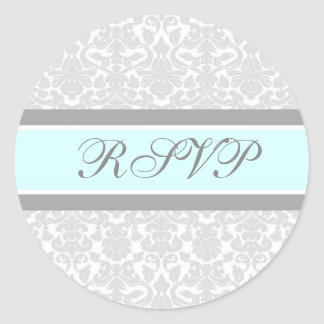 Blue Damask Wedding RSVP Envelope Seals Round Sticker
