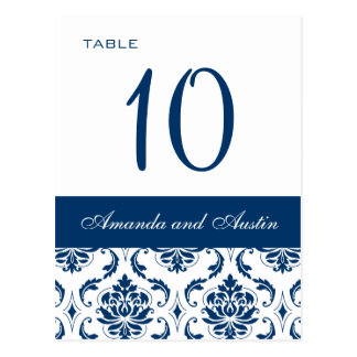 Blue Damask Wedding Table Number Cards Postcard