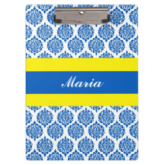 Blue Damask Yellow Band Personalized Clipboard