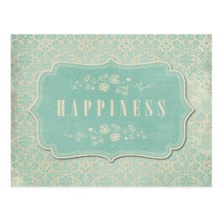 Blue Damasks Happiness Label Soft Postcard
