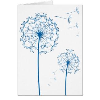 blue dandelion greeting card