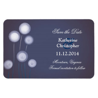 blue dandelions modern save the date magnets