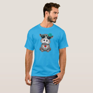 Blue Day of the Dead Baby Hippo T-Shirt