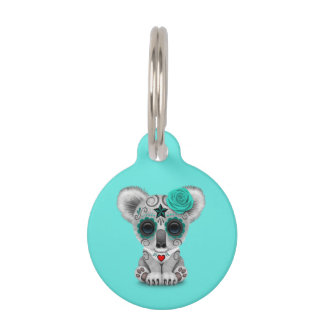 Blue Day of the Dead Baby Koala Pet Name Tag