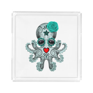 Blue Day of the Dead Baby Octopus Acrylic Tray