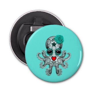 Blue Day of the Dead Baby Octopus Bottle Opener