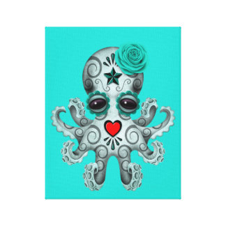 Blue Day of the Dead Baby Octopus Canvas Print