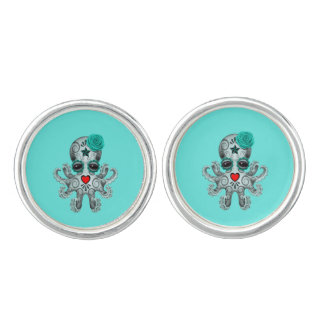 Blue Day of the Dead Baby Octopus Cuff Links
