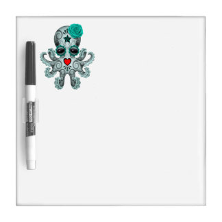 Blue Day of the Dead Baby Octopus Dry Erase Board