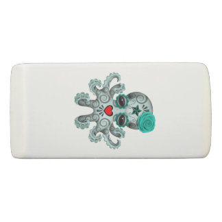 Blue Day of the Dead Baby Octopus Eraser