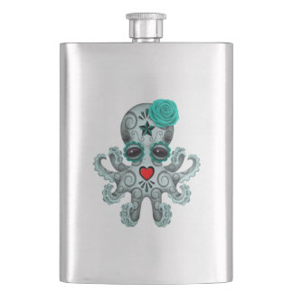 Blue Day of the Dead Baby Octopus Hip Flask