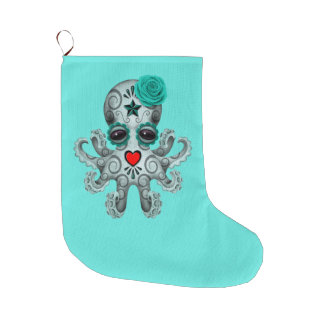 Blue Day of the Dead Baby Octopus Large Christmas Stocking