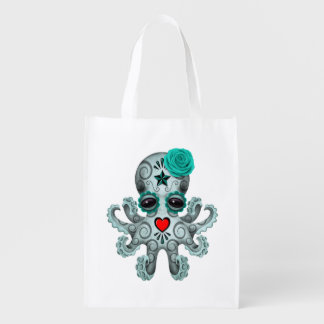 Blue Day of the Dead Baby Octopus Reusable Grocery Bag
