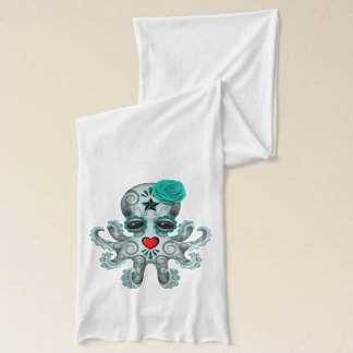 Blue Day of the Dead Baby Octopus Scarf