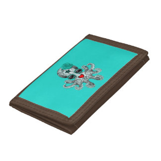 Blue Day of the Dead Baby Octopus Trifold Wallets