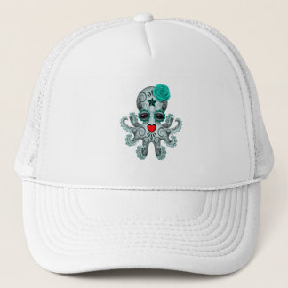 Blue Day of the Dead Baby Octopus Trucker Hat