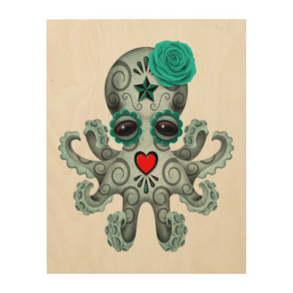 Blue Day of the Dead Baby Octopus Wood Wall Art