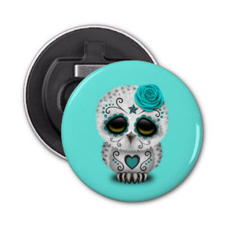 Blue Day of the Dead Baby Owl Bottle Opener