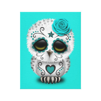 Blue Day of the Dead Baby Owl Canvas Print