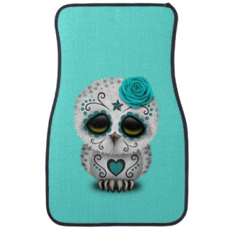 Blue Day of the Dead Baby Owl Car Mat