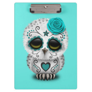Blue Day of the Dead Baby Owl Clipboard