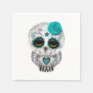 Blue Day of the Dead Baby Owl Disposable Napkins