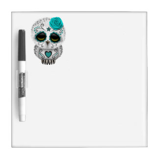 Blue Day of the Dead Baby Owl Dry Erase Board