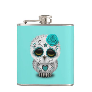 Blue Day of the Dead Baby Owl Hip Flask