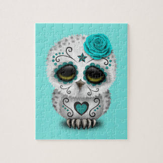 Blue Day of the Dead Baby Owl Jigsaw Puzzle