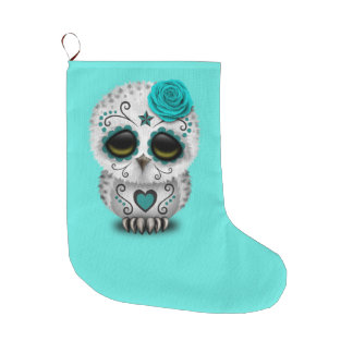 Blue Day of the Dead Baby Owl Large Christmas Stocking