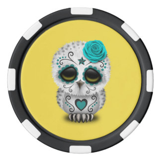 Blue Day of the Dead Baby Owl Poker Chips