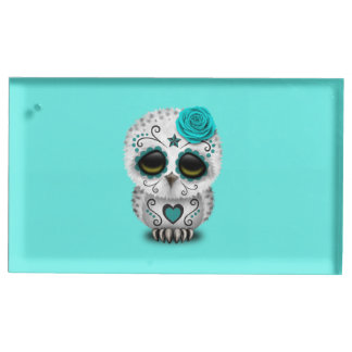 Blue Day of the Dead Baby Owl Table Card Holder
