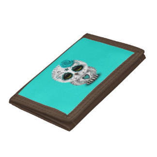 Blue Day of the Dead Baby Owl Tri-fold Wallets