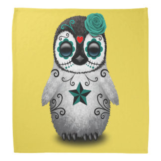 Blue Day of the Dead Baby Penguin Bandana