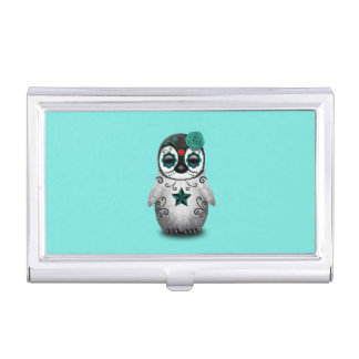 Blue Day of the Dead Baby Penguin Business Card Holder