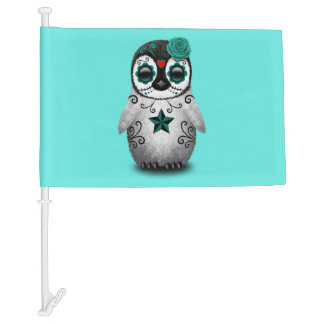 Blue Day of the Dead Baby Penguin Car Flag