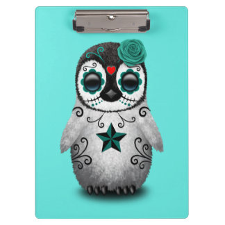 Blue Day of the Dead Baby Penguin Clipboard