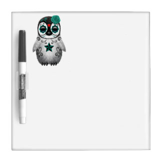 Blue Day of the Dead Baby Penguin Dry Erase Board