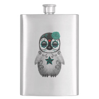 Blue Day of the Dead Baby Penguin Hip Flask