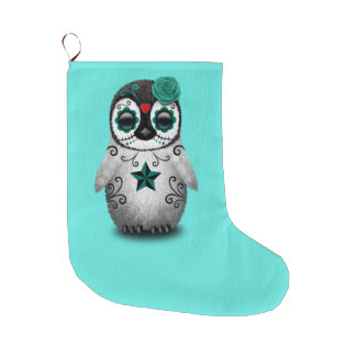 Blue Day of the Dead Baby Penguin Large Christmas Stocking