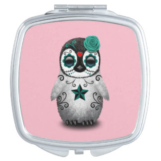 Blue Day of the Dead Baby Penguin Makeup Mirror